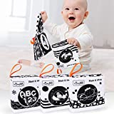 tumama Soft Cloth Books for Babies,My First Soft Books Early Development Soft Toys,Black and White Cloth Books with Animals,Fruit,Number,Shape,Letter Learning Toy for BabyToddler,Infants(3packs)
