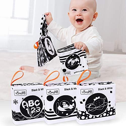 Tumama Libros de Tela Suave para bebés, Libros de Tela en Blanco y Negro Juguetes de Peluche con Animales,Fruta,número,Forma,Juguete de Aprendizaje de Letras para bebés,niños(3packs)