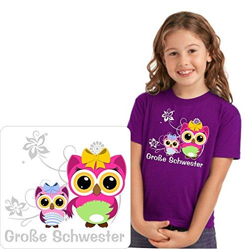 TH-Design Geschwister T-Shirt für die große Schwester mit schönen Eulenmotiven Mädchen zur Auswahl Inkl. Rückendruck Name