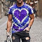 2021 Verano Camiseta Hombre Manga Corta con Estampado étnico Retro y Corazones Divertidas,3D Camisetas de Colores T Shirts Hombres Tendencia Camisas tee Top de Tallas Grandes Sueltas Casual