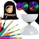 Diabolo - Juego de rodamientos LED con Varillas de Fibra de Vidrio de Colores y Bolsa de algodón para Juguetes de Fuego Selecciona el Color de la Varilla. Pilas Incluidas, Varillas Negras