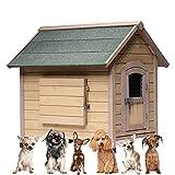 Casa Perros Madera, Aislada Refugio Perros Cabaña Intemperie, Exteriores Gato Cama Troncos Mascotas Caseta Elevado Piso Resistente Impermeable Anticorrosiva, M, L, XL,41'x37'x35'