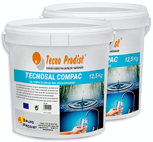 Tecno Prodist TECNOSAL COMPAC- Sal compacta Especial para descalcificadores - Pack 2 Cubos de 12,5 kg Comodidad