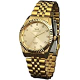 Classic Golden Stainless Steel Unisex Luxury Quartz Wrist Watches,fq043 Men's Women's Gift Wristwatches Gold
