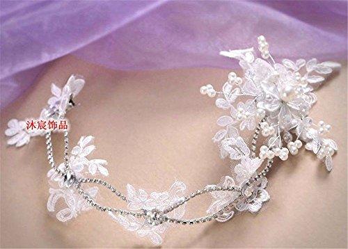 Weddwith Accessoires de coiffure Bridal coiffure style nuptiale robe coréenne mariée coiffures perle robe de mariée en dentelle accessoires robe de mariée style de studio de bijoux à la main ornements de cheveux bijoux