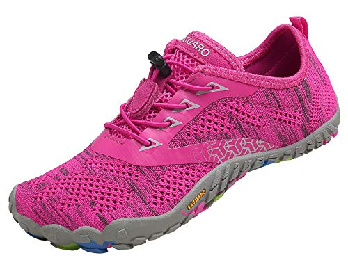 SAGUARO Femme Chaussures de Trail Running Outdoor Indoor Gym Fitness Randonnée Escalade Marche Chaussures Aquatiques,Tricot Rose Rouge,41