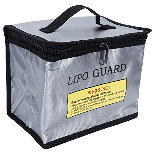 AUNMAS Bolsa Segura para batería de lipo a Prueba de Fuego, batería de lipo a Prueba de explosiones de Doble Cremallera de Gran Espacio para Almacenamiento y Carga de batería de lipo (215x145x165 mm)