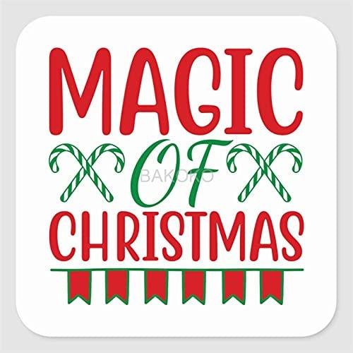 Magic of Christmas Label Stickers voor envelop, tas, kleine zakelijke benodigdheden, set van 50 vierkante vinyl…