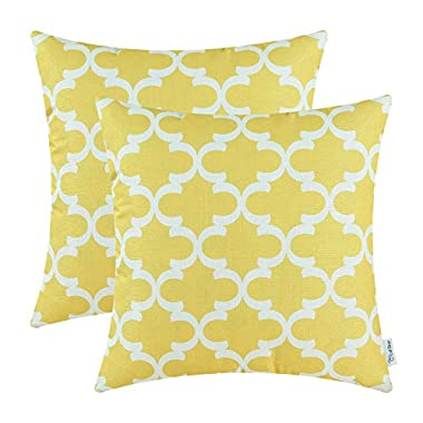 CaliTime Pack of 2 Soft Canvas Throw Pillow Covers Cases for Couch Sofa Home Decor Modern Quatrefoil Accent Geometric 18 X 18 Inches Bright Yellow