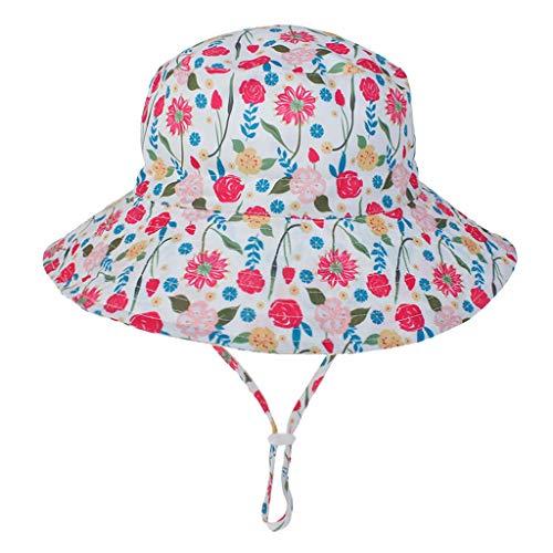 Webla - Sombrero de bebé con estampado de animales de dibujos animados, mezcla de algodón, unisex, plegable, para verano, playa, con correa ajustable para la barbilla, para 1-8 bebés y niñas niños