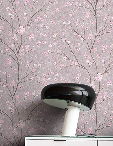 NEWROOM Tapete Grau Vliestapete Blumen - Blumentapete Floral Rosa Kirschblüte Bäume Blätter Tropisch inkl. Tapezier-Ratgeber