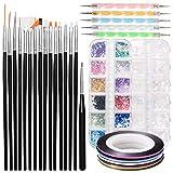 ZITFRI 32 Pcs Kit de Nail Art Accessoires - 15 Pinceaux Brosses Ongles 5 Dotting Pens 10 Striping Tape pour Ongles Strass Colorés Paillettes