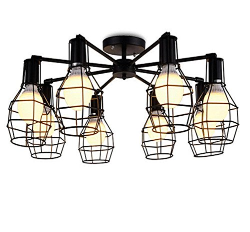 AMZH Sala de Estar Creativa Bird Cage lámpara de Techo Dormitorio lámpara de Comedor Estudio de Aves de Metal Jaula Iluminación 8 Cabeza Led E27 110V-220V ?80Cm Luces empotradas