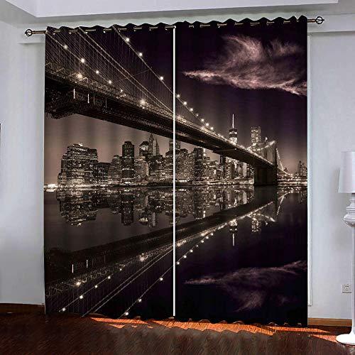 JFAFJ Cortina Opaca Ciudad y Puente de la Ciudad de Nueva York para Ventana Dormitorio Juveni Habitacion Matrimonio Estilo Moderno Elegante con Ojales 2 Paneles Tamaño:2x110x215cm(An x Al)