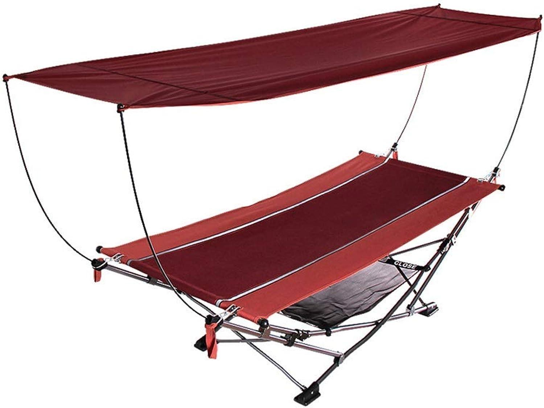 GL-Strandbett Klappbett Oxford Tuch Tragbare Outdoor-Sonnencreme Feldbett Begleitbett Campingbett (Farbe  Rot)