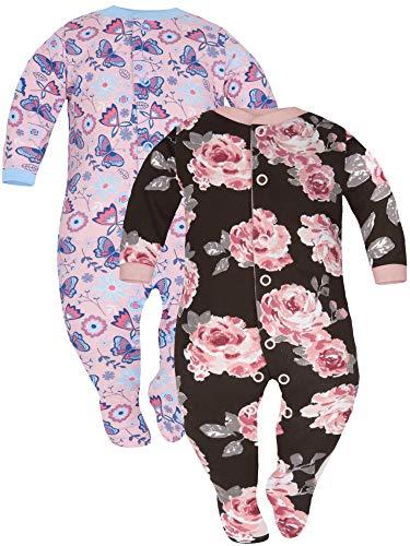 Sibinulo Niño Niña Peleles con Pies Antideslizantes Mamelucos Algodón, Pijama Tamaños 9 a 12 Meses, Pack de 2 Prado Rosa Marrón Rosa 80