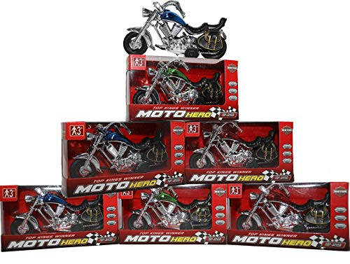 Pull-Back Motorcycle Toys for Boys & Girls | Fast and Fun Motorbike Toy Party Favors (6 Pack)