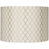 Embroidered Hourglass Medium Lamp Shade 16' Top x 16' Bottom x 11' High (Spider) Replacement with Harp and Finial - Springcrest