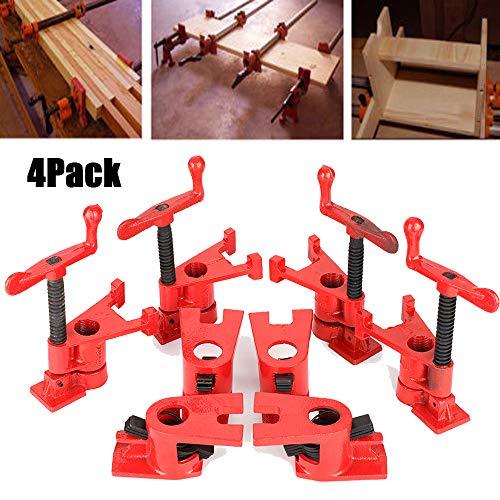 Cocoarm 4 Sets Rohr-Schraubzwinge Schnellspanner Clamp Holzklammer-Set aus Eisen Schraubzwinge für Holz Holzbearbeitung Schnelles Anziehen und Lösen F Clip