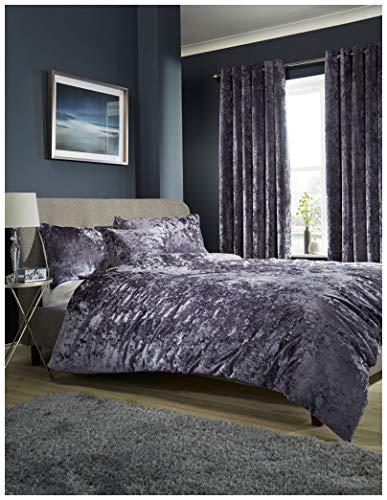 Crushed Velvet Quilt Covers Modern Duvet Cover Bedding Set With Pillowcase (Mauve, King)