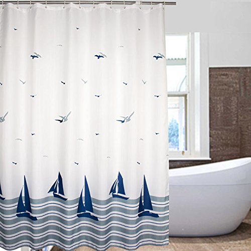 Nautical Striped Sailing Boat und Sea Gull Beach Pattern Bathroom Shower Curtains - White and Navy Fabric Kids Curtain with 12 Plastic Hooks -180x200cm(72x78Inch) by Weare Home