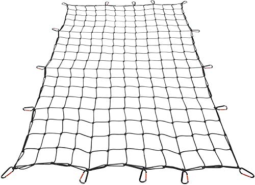 Orion Motor Tech 3x4 ft Heavy Duty Cargo Net for Pickups SUVs Vans Semis | 6x8ft Max Bungee Cord Net for Truck Bed Roof Rack Trailer More with Handmade Knotting, 12 Carabiners, Storage Bag