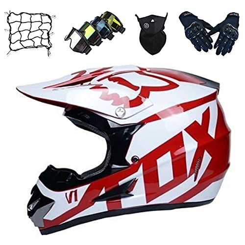 Casco Motocross Niños, Conjunto Casco de Motocicleta Unisex con Gafas/Máscara/Guantes/Red de Bungy, Casco de Motocross de Cara Completa para Adultos para Downhill Enduro MTB - con Diseño Fox - Rojo