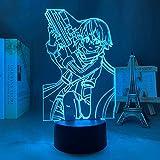 Anime ilusión 3D Lámpara Led Luz Espada Arte Online Sinon Figura para Dormitorio Decoración Nightlight Regalo Cuarto Led Noche Manga Sao-Touch Control