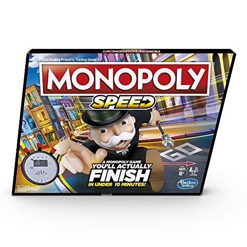 Monopoly Speed Brettspiel, Monopoly in unter 10 Minuten, schnell spielendes Monopoly Brettspiel ab 8 Jahren, Spiel für 2-4 Spieler