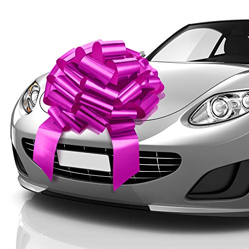 Zoe Deco Big Car Bow (Pink, 23 inch), Round Shape Gift Bows, Giant Bow for Car, Birthday Bow, Huge Car Bow, Car Bows, Big Pink Bow, Bow for Gifts, Christmas Bows for Cars, Gift Wrapping