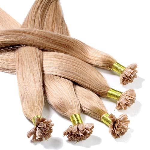 Hair2Heart 25 x 0.5g Extension Capelli Veri Cheratina - 50cm, Colore #18 Biondo Chiaro Dorato, liscio