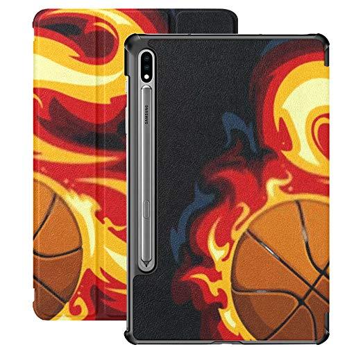 Funda Galaxy Tablet S7 Plus de 12,4 Pulgadas 2020 con Soporte para bolígrafo S, Baloncesto ardiente sobre Fondo Negro Funda Protectora Tipo Folio con Soporte Delgado Vectorial para Samsung