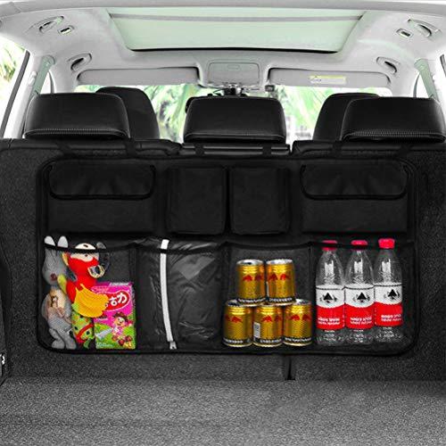 QLOUNI Kofferraum Organizer Auto, 46x90cm, Kofferraumtasche mit Starkes elastisches Netz & Zauberstabstruktur, Oxford-Tuch Aufbewahrungstasche, Auto Rücksitz Organizer Sitztasche für Auto, SUV, MVP