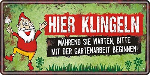 AV Andrea Verlag Großes Metallschild rostfrei Blechschild Schild mit lustigem Spruch im Vintage Retro Look (Hier klingeln 33515)