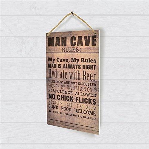 Pour Hommes Bois Nouveauté Man Cave Rules Plaque Murale Signe