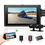 Vsysto Motorcycle Camera Front/Rear 2 Channels Lens Dash cam for Sports Bike/Motorcycle DVR Recording System with Full HD Front and Rear View Wide Angle 3.0'' LCD (1080P IMX323/waterproof case)