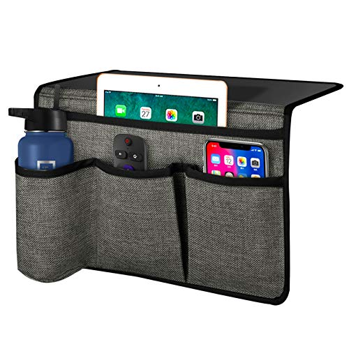 Joywell Bed Pocket Storage Bedside Caddy Remote Control Holder Organizer with Bottle holder Insert Mattress for TV Remote, Phone, Magazine, iPad, Tablet, Grey