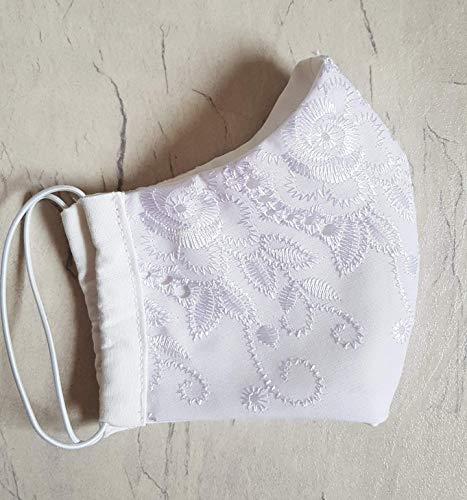 Behelfsmaske Brautmaske Stoffmaske Mund-Nasen-Maske Gesichtsmaske Baumwolle waschbar festlich Hochzeit Spitze