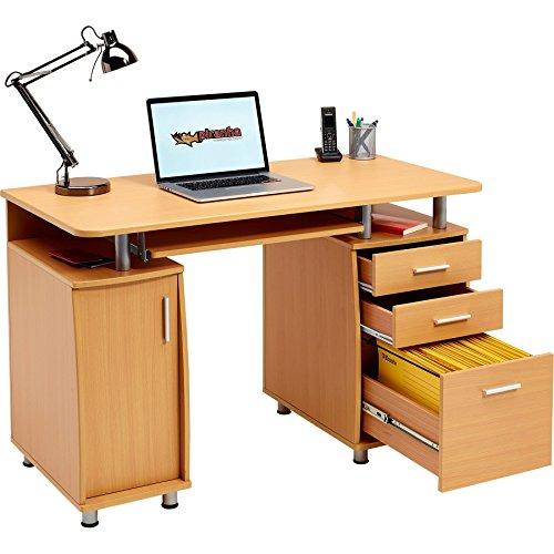 Großer Computer und Schreibtisch mit Registratur A4, 2Stationery Schubladen und Schrank für das Home Office in Buche–Piranha PC 2b