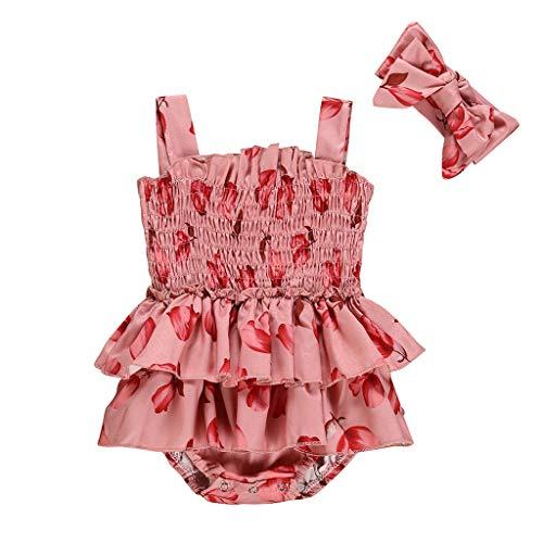 Kobay Kleinkind Kind Baby Mädchen Schleife drucken Einteilige Badeanzüge + Stirnband Strampler Mädchen Sommer gekräuselte Blütenblatt Sling Jumpsuit + Schleife Haarband (0-18M)