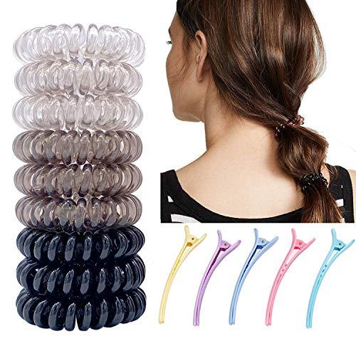 9 Stück Original Haargummi Kunststoff Spirale Telefonkabel elastisch Haarband für Mädchen Frauen Haar-Accessoires Verwendbar als Armband