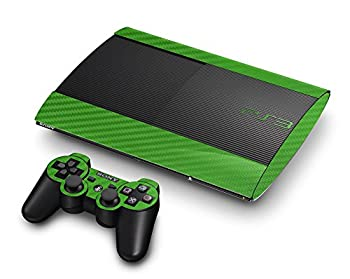 3D Carbon Fiber Lime Green - Air Release Vinyl Decal Faceplate Mod Skin Kit for Sony PlayStation 3 Super Slim Console by System Skins