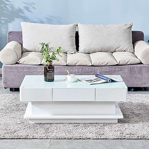 Huisen Furniture Living Room White Clear Glass Coffee End Table Large Contemporary Home Office High Gloss Coffee Table with Storage Drawers for Waiting Area (glass top: white)