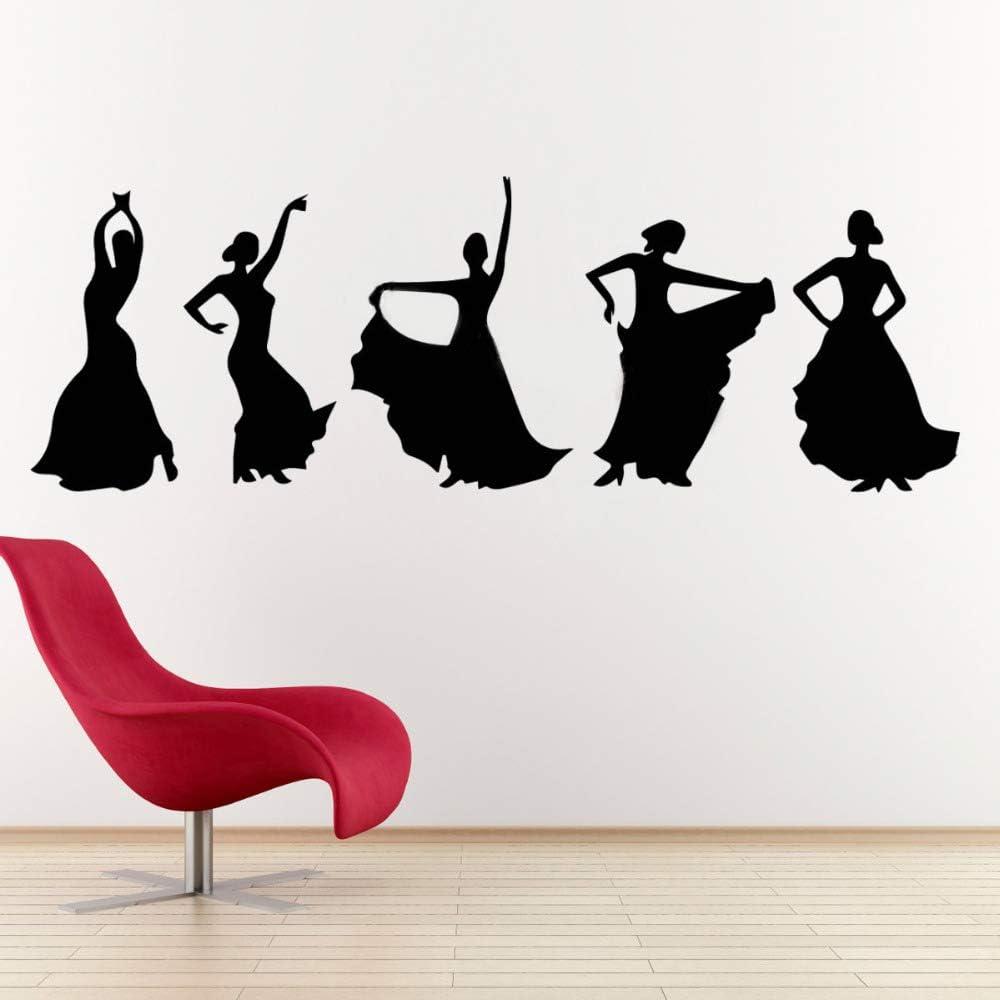 etiqueta de la pared etiqueta de la pared decoración Bailarines de flamenco Entusiasmo de la danza española Niña española sin límites Silueta elegante sala de estar: Amazon.es: Bricolaje y herramientas