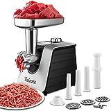 Tritacarne Elettrico 1500W (Nero) - Per Carne e Salsiccia - Robot da Cucina, Tritacarne con 3 Lame e 3 Ugelli per Salsicce - Tritacarne Professionale