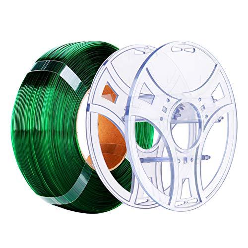 eSUN PETG Kit di ricarica e eSpool, bobina di ricambio riutilizzabile e rimovibile per stampante 3D, filamento PETG 1,75 mm, 1 kg, colore verde