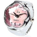 GoodsLand 【 5カラー 】指輪 時計 クロック リング ウォッチ サイズフリー メンズ レディース 花型 GD-FWRINW-PK