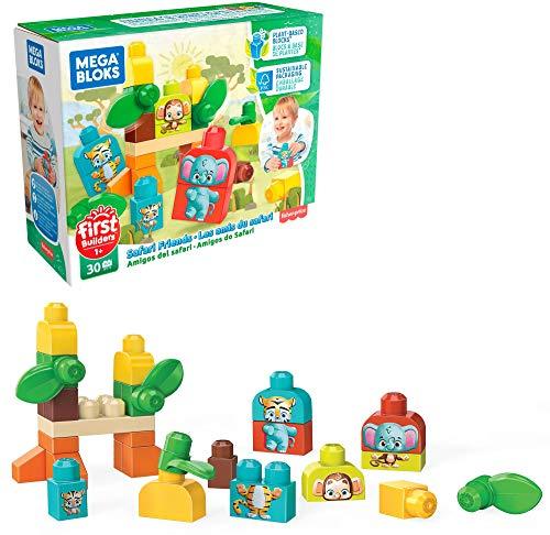 MEGA Bloks - Amigos del Safari conjunto de bloques de construcción ecológicos para bebés de +1 año (Mattel GPT75)