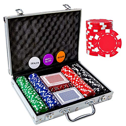 Tocebe Poker Chip Set, 200PCS Poker Chips with Aluminum Case, 11.5 Gram Poker Set for Texas Holdem Blackjack Gambling