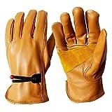 GZSC Retro Guantes de Piel de Oveja Genuino Guantes de Moto Cuero de los Hombres de la Moto Completa Dedo Guantes de Moto del motocrós (Color : Brown, Size : L)